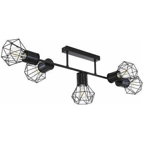 Plafonnier de salon Lampe en métal noir avec plafonnier en treillis métallique Lampe en treillis noir, taches de diamant en optique cage 5 lumières, 5x E27, L 90 cm