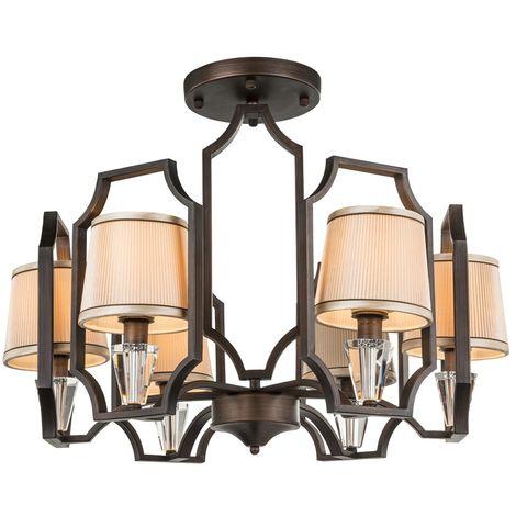Plafonnier de style rustique de salon lustre en cristal et textile lustre en bronze Globo 69005-6