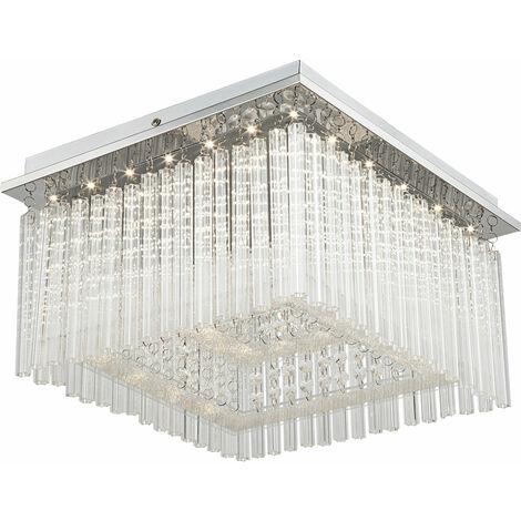 Plafonnier décorative chrome pendeloques luminaire plafond cristaux salle de séjour éclairage