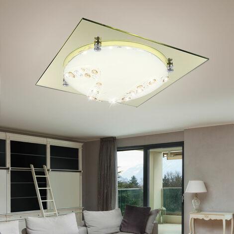 Plafonnier DEL 12W luminaire plafond lampe chambre Á coucher doré verre cristaux