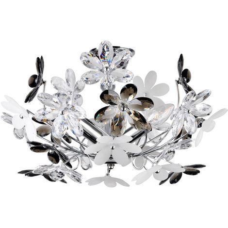Plafonnier design, fleurs, chrome, D 46 cm, RAINBOW