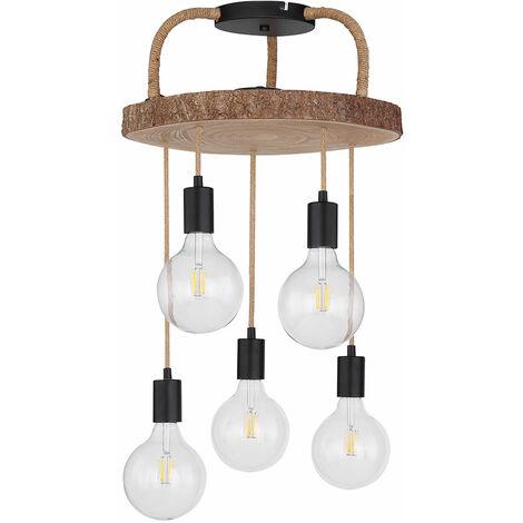 Plafonnier design lampe éclairage bois corde de chanvre métal noir mat cuisine