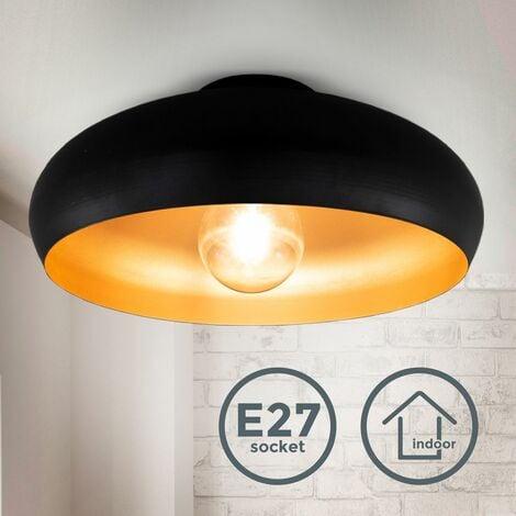Plafonnier design rétro en noir-doré éclairage plafond salon salle à manger couloir chambre E27