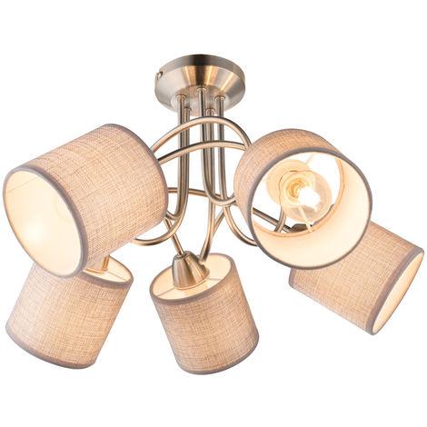 Plafonnier design spots cuisine lumineuse salle à manger spots lampe ombre textile gris Globo 15185-5D