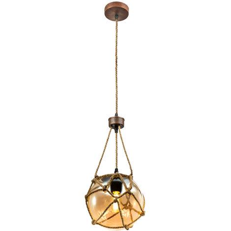 Plafonnier design suspendu lampe de salon en corde de chanvre avec suspension dans l'ensemble comprenant des ampoules à LED