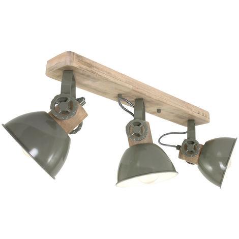 Plafonnier en bois projecteur orientable orientable dans le salon vert Steinhauer 2133G