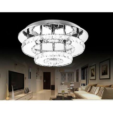 Plafonnier en Cristal Miroir Acier Inoxydable Rond Moderne LED Luminaire Lustre Eclairage 30CM 36W Blanc
