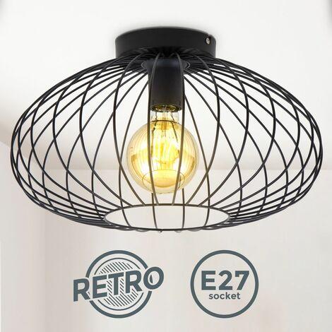 Plafonnier en fil de fer I 40 cm de diamètre I E27 I Lampe ancienne à 1 ampoule avec abat-jour métallique I Noir I sans ampoule