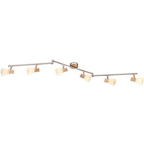 Plafonnier en verre mobile TÉLÉCOMMANDE Lampe en bois dimmable dans un ensemble avec éclairage LED RGB