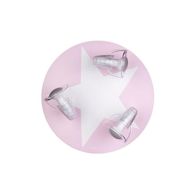 Plafonnier enfant Etoile 3 spots ROSE - Rose
