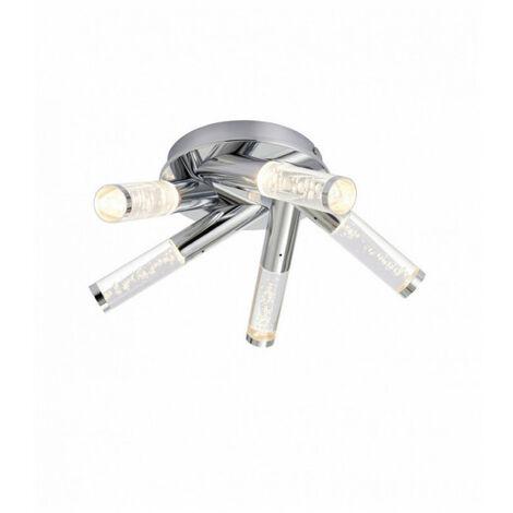 Plafonnier Essence, chrome et acrylique, 5 Led