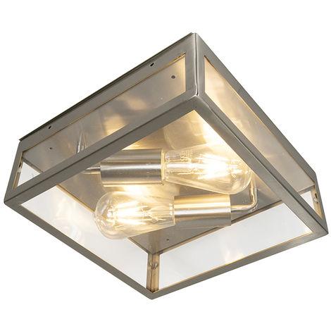 Plafonnier extérieur carré monderne en acier 2 lumières - Rotterdam Qazqa Moderne Luminaire exterieur Carré