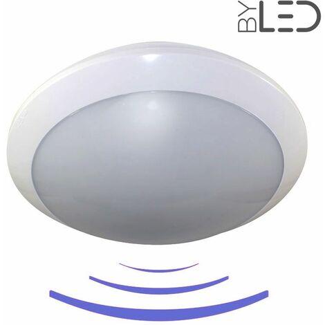 Plafonnier / hublot LED avec détecteur de mouvement - Anti-vandale IK09 - IP65 (galbe-16) | Température de couleur Blanc Lumière du jour - Détecteur de présence Avec détecteur - Finition Blanc