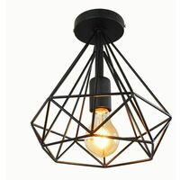 Plafonnier industriel forme diamant 25cm lustre abat-jour E27 luminaire pour Salon Cuisine Chambre Entr?e Noir