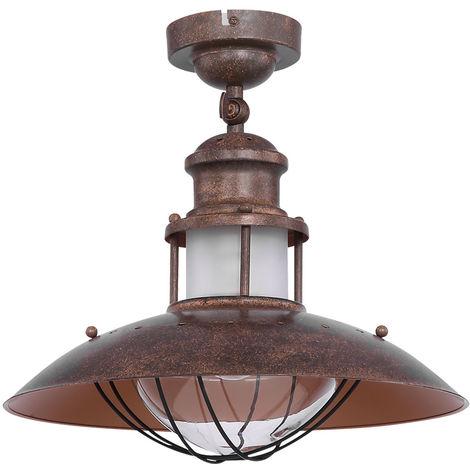 Plafonnier industriel style rustique brun lampe de poche rouille dans un ensemble avec éclairage LED