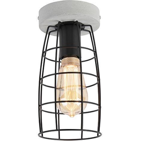 Plafonnier Industriel / Vintage aspect béton et noir - Rohan Qazqa Industriel / Vintage Luminaire interieur Rond