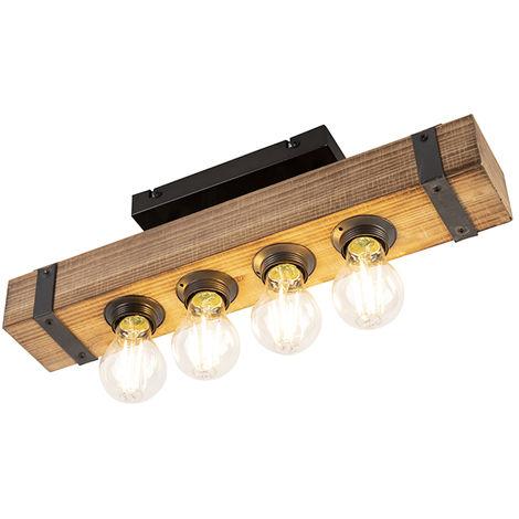 Plafonnier Industriel / Vintage en bois - Reena Qazqa Industriel / Vintage Luminaire interieur