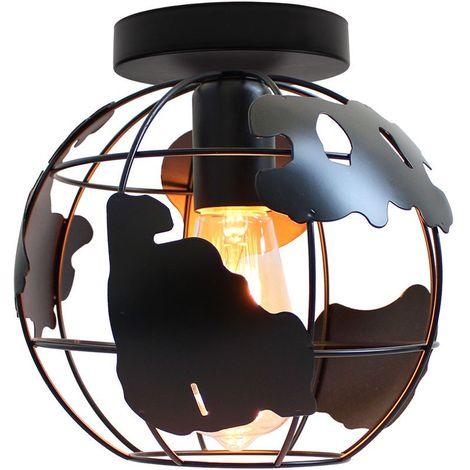 Plafonnier Industrielle Cage forme Carte 20cm , Vintage Lampe de Plafond en Métal Fer Luminaire E27 Edison Sans LED Ampoule, Noir