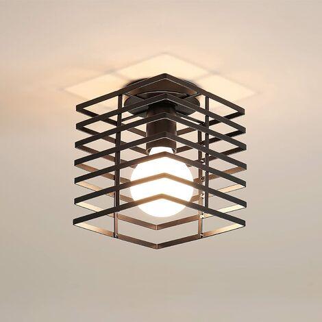 Plafonnier Industrielle Cage Lustre Suspension en Métal Fer Luminaire pour Chambre Cuisine Couloir, Noir