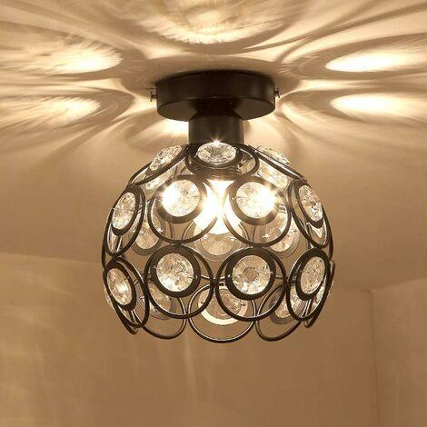 Plafonnier Industrielle Cristal en Métal Fer 20cm, Luminaire l'éclairage Intérieur Lamps de Plafond Abat-Jour Noir