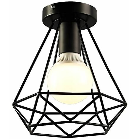Plafonnier Industrielle en Métal Fer Cage Diamant Retro Lustre suspension luminaire pour couloir,entrée,allée, porche, chambre, sous
