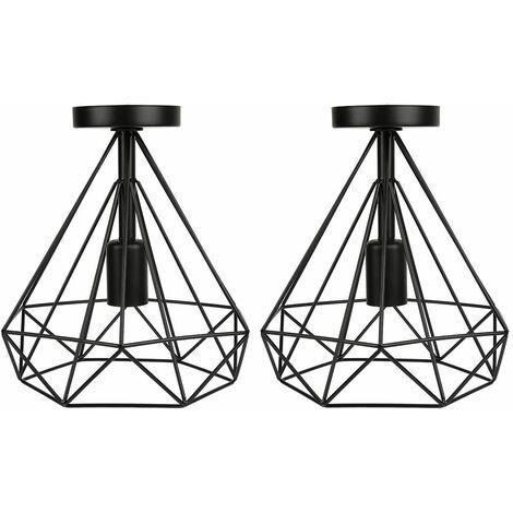 Plafonnier Industrielle en Métal Fer Cage Diamant Retro Lustre suspension luminaire pour couloir,entrée,allée, porche, chambre, sous - Noir