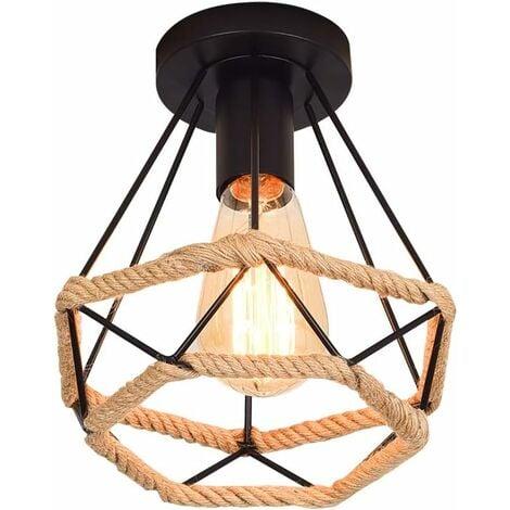Plafonnier Industrielle Lampe de Plafond rétro vintage Cage en forme Diamant en MétalFer Lustre Suspension Luminaire pour Salon Salle Chambre Décorer Maison