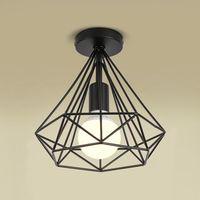 Plafonnier industrielle Retro 25cm en forme Diamant Noir, Suspension Luminaire pour Salle à Manger,Bar,Chambre