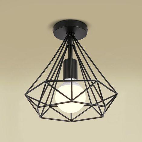 """main image of """"Plafonnier industrielle Retro 25cm en forme Diamant Noir, Suspension Luminaire pour Salle à Manger,Bar,Chambre - Noir"""""""