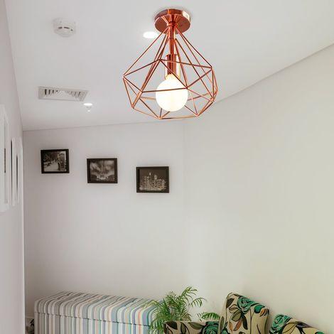 Plafonnier industrielle Retro 25cm en forme Diamant Or rose , Suspension  Luminaire pour Salle à Manger,Bar,Chambre