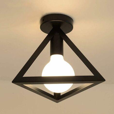 Plafonnier Industrielle Retro en Métal Cage triangle Fer Noir Suspension luminaire pour Salon Chambre Café Bar Restaurent Salle à Manger