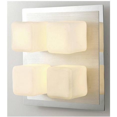 Plafonnier IP44 Cube 4 Ampoules chrome poli & Aluminium/verre opal