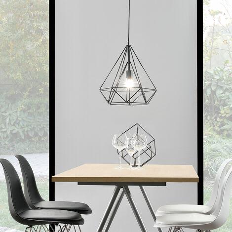Plafonnier Lampe de Plafond Éclairage de Plafond LED Suspension Design Vintage Métal Noir Hauteur : env.200 cm Douille :1 x E27