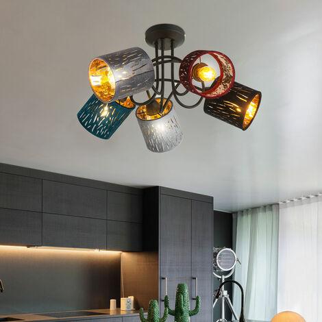 Plafonnier lampe velours design métal noir éclairage salon chambre à coucher