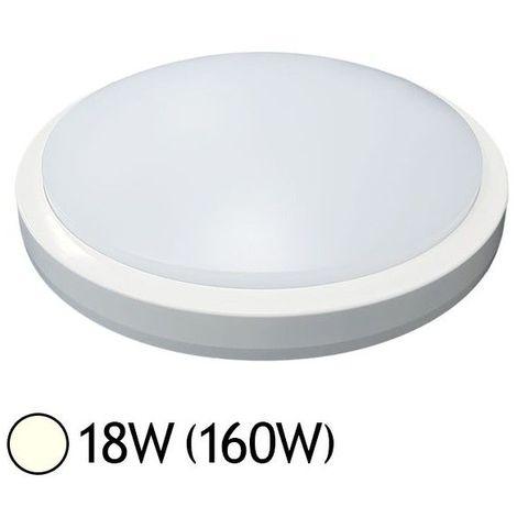 Plafonnier LED 18W (160W) Hublot IP65 Ø280 + détecteur Blanc jour 4000°K