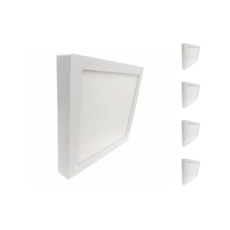 Plafonnier LED 24W 220V Carré (Pack de 5) - Blanc Neutre 4000K - 5500K - SILAMP