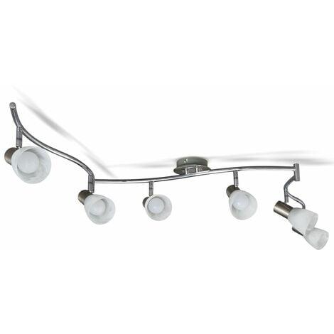 Plafonnier LED 6 spots orientables spots plafond salon pivotables E14 métal verre lustre plafond salle à manger 6 spots