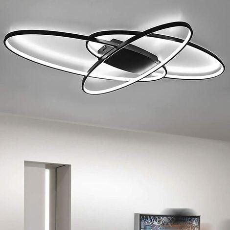 Plafonnier LED 70 W à intensité variable - Moderne et chic - Abat-jour en acrylique - Luminosité réglable - Pour salon, chambre à coucher, cuisine et bureau - Classe énergétique A++- Noir
