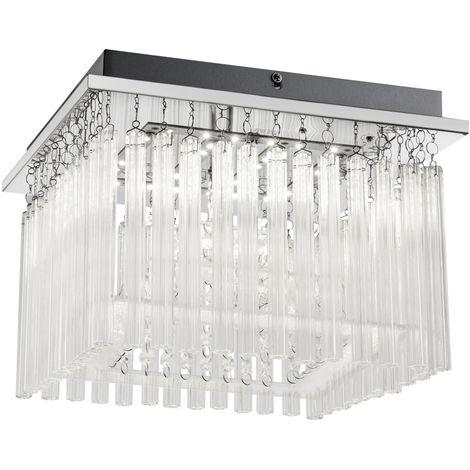 Plafonnier LED baguettes en verre draperie living eclairage chambre a coucher chrome light Globo 68567-18A