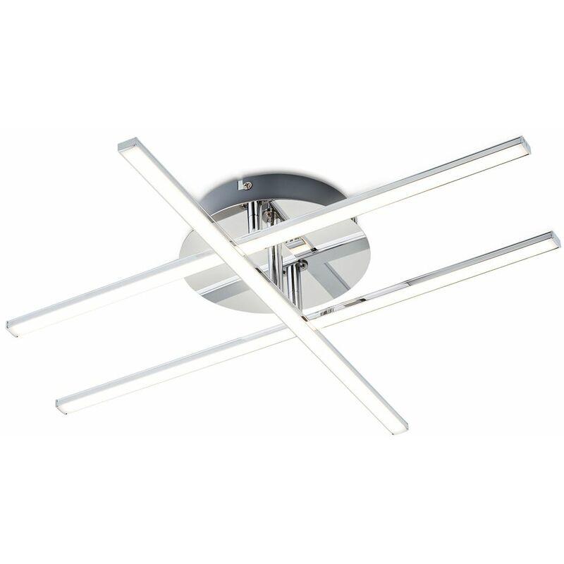 B.k.licht - Plafonnier design LED chromé lustre plafond moderne salon salle à manger