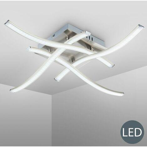 Plafonnier LED design 4 LED lustre plafond moderne éclairage salon nickel-mate