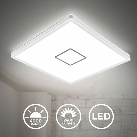 Plafonnier LED design carré pour salon salle à manger 18W ultra-plat blanc argenté