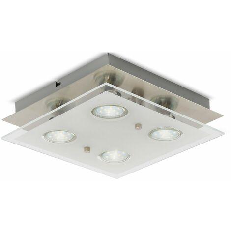 Plafonnier LED design chambre métal verre carré 4x GU10 lustre plafond
