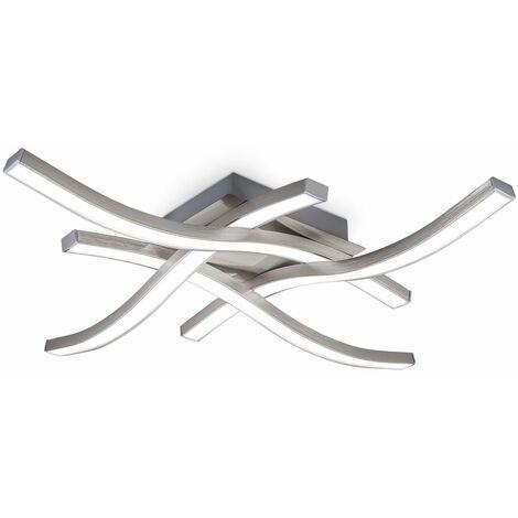 Plafonnier LED design moderne 20 Watt éclairage plafond salon salle à manger en forme de vague finition aluminium