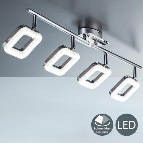 Plafonnier LED design moderne chrome luminaire plafond salon salle à manger 4 spots orientables