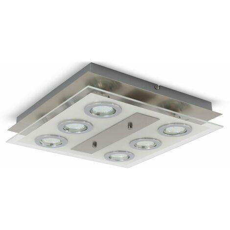 Plafonnier LED design moderne luminaire plafond 6 spots chambre salon salle à manger métal carré 6 ampoules GU10 3W incluses