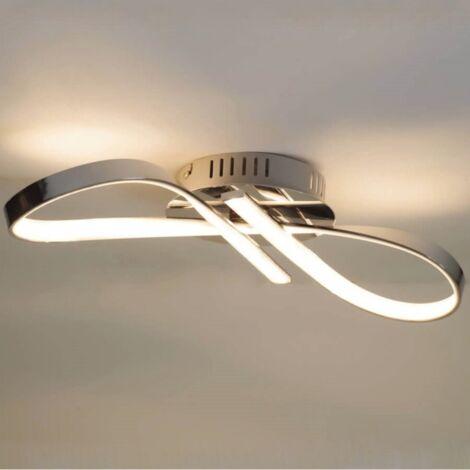 Plafonnier LED design ruban infini chrome - Acht