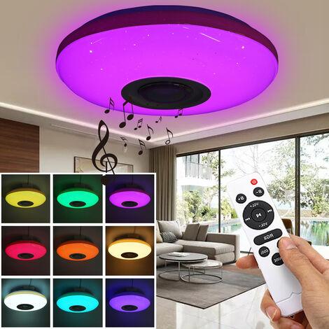 Plafonnier LED Dimmable 120W 170-260V Lampe moderne RGB lumière Mobile APP haut-parleur bluetooth Smart