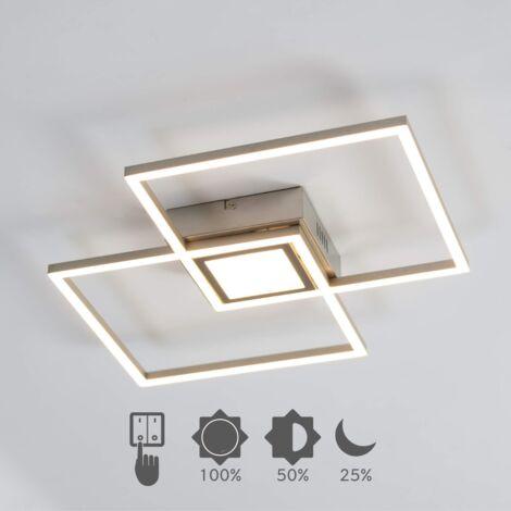 Plafonnier LED Dimmable design double rectangle - Eliza - Argenté / Chromé