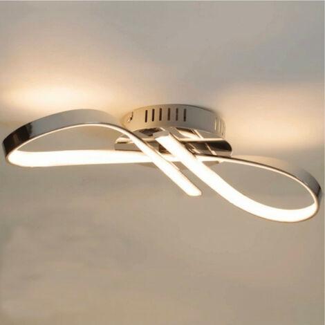 Plafonnier LED dimmable design ruban infini chromé - Acht - Argenté / Chromé